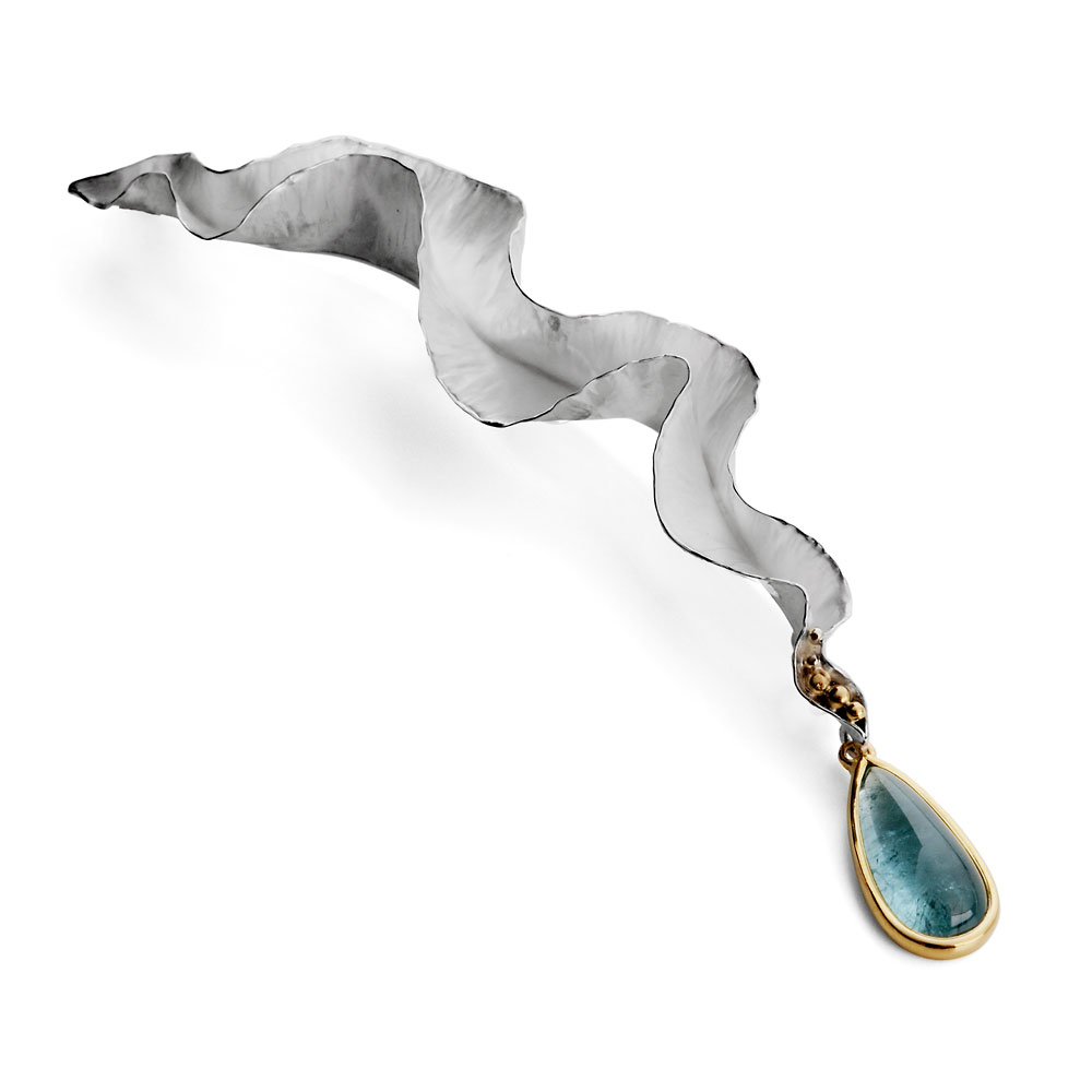 Anticlastic raised & forged silver brooch with pear shape aquamarine cabochon set in 18ct gold.