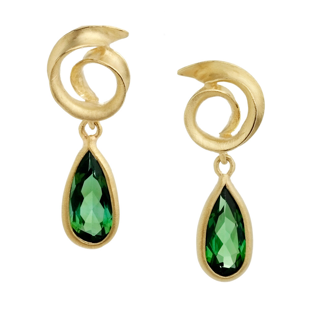 18ct yellow gold anticlastic raised earrings with green tourmaline pear shape drops.