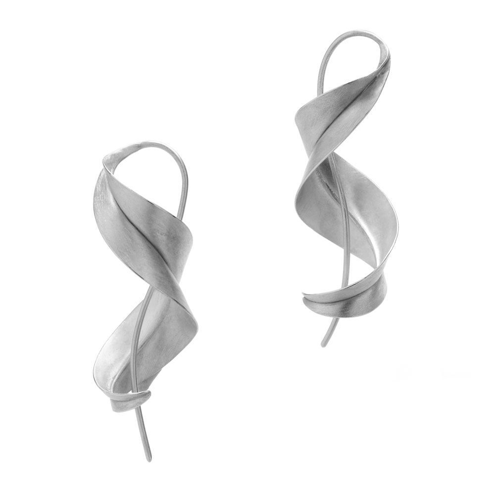 Anticlastic raised & forged silver earrings.