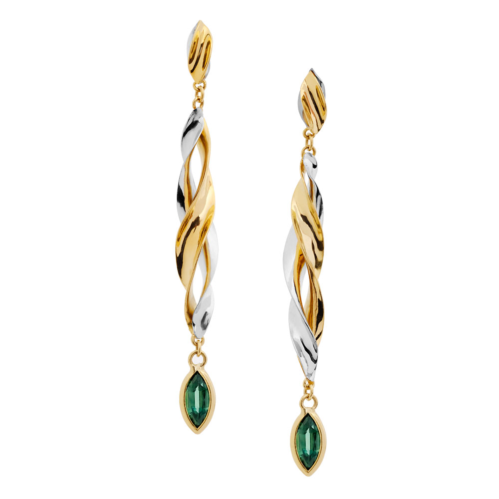 18ct yellow and white gold anticlastic raised earrings with green sapphire marquise stones.
