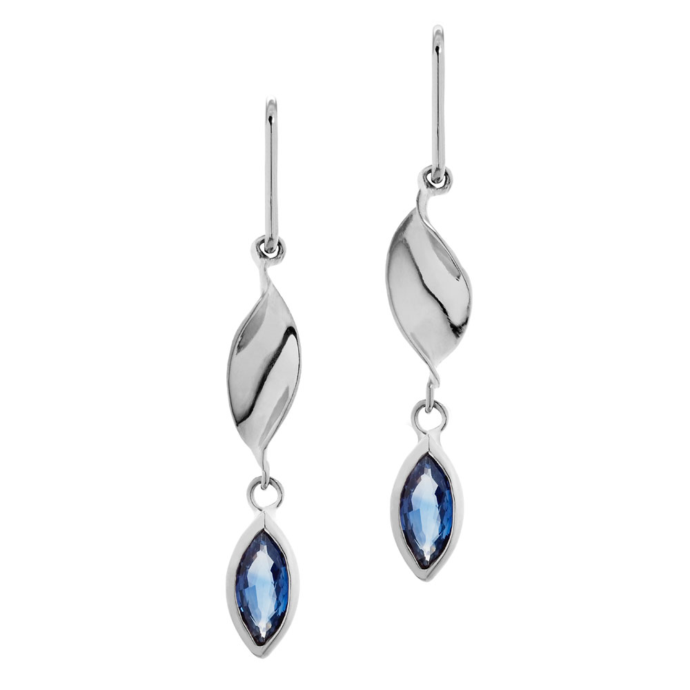 Marquise sapphires on 18ct white gold raised earring drops.