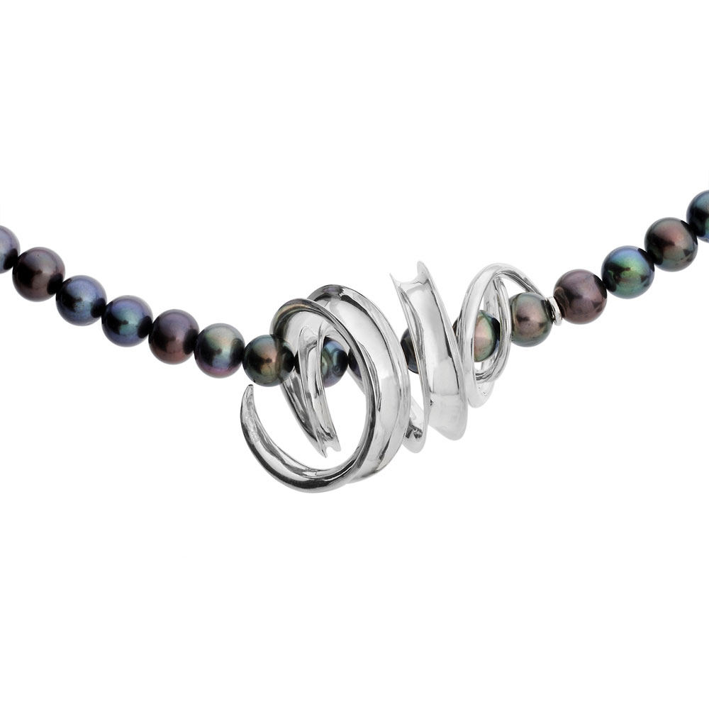 Anticlastic raised silver necklace with black freshwater pearl.