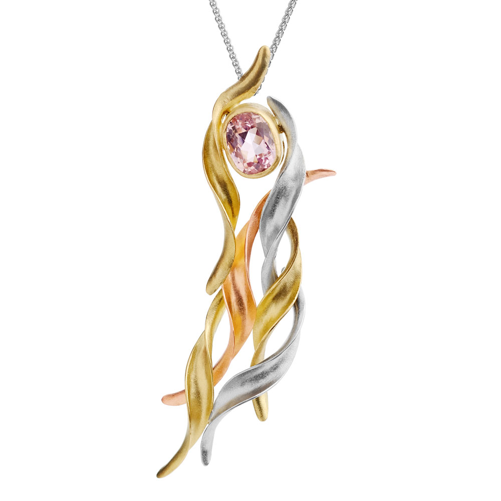 18ct yellow, white and red gold anticlastic raised & forged pendant with pink kunzite stone.