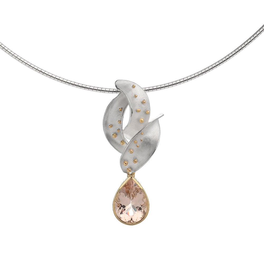 Silver and 18ct gold pendant with pear shape morganite drop.