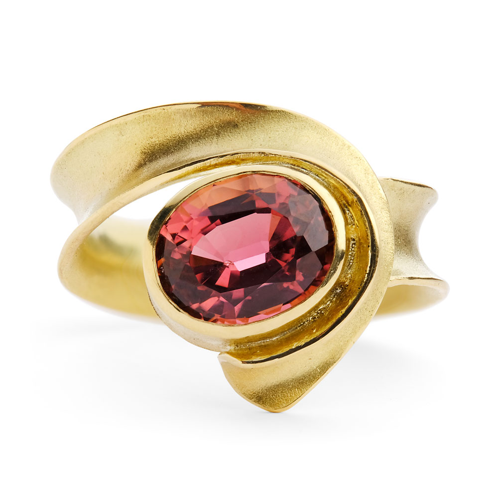 18ct yellow gold anticlastic raised ring with pink tourmaline.